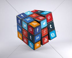 creative-3d-social-media-marketing-3d-social-icons-on-rubiks-cube-3d-stock-photo