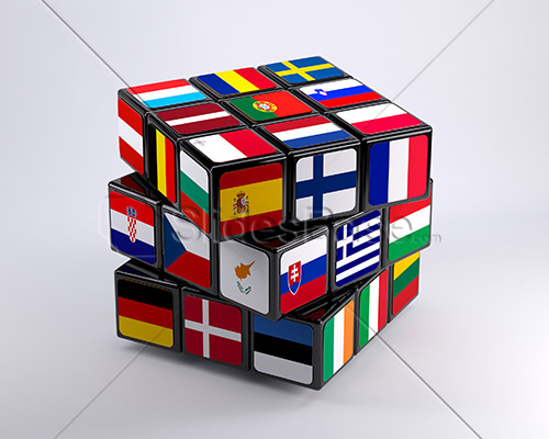 european-union-concept-on-rubiks-cube-3d-brexit-stock-photo-illustration