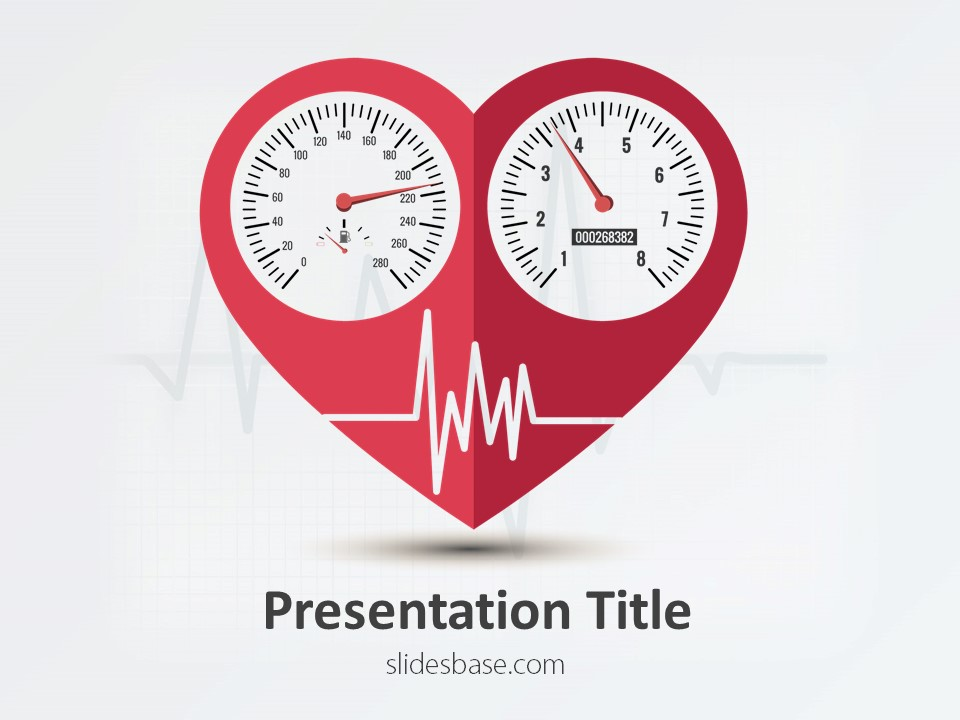 Heart condition powerpoint template slidesbase heart speedometer cardiogram exercise health medical cardiogram monitor toneelgroepblik Gallery