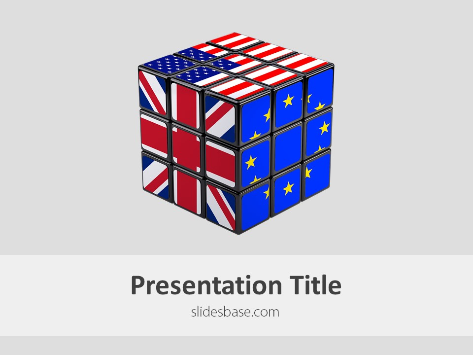 eu-us-gb cube – powerpoint template | slidesbase, Modern powerpoint