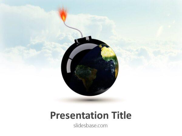 world-as-bomb-3d-globe-eart-explode-pp-powerpoint-template-download-slide1-1