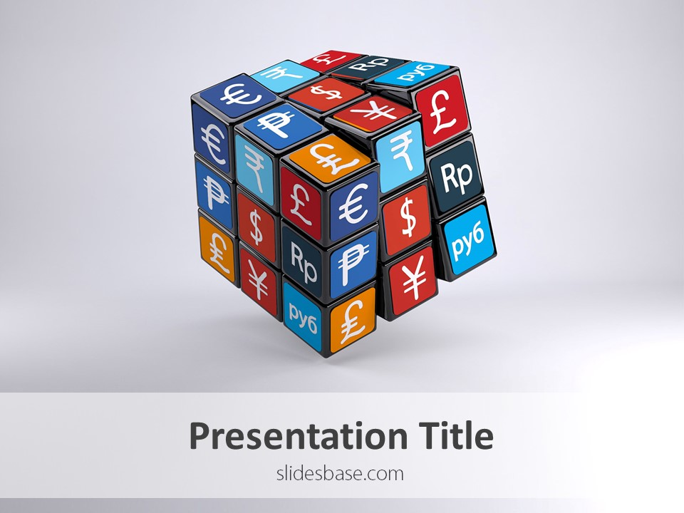 currency cube powerpoint template slidesbase