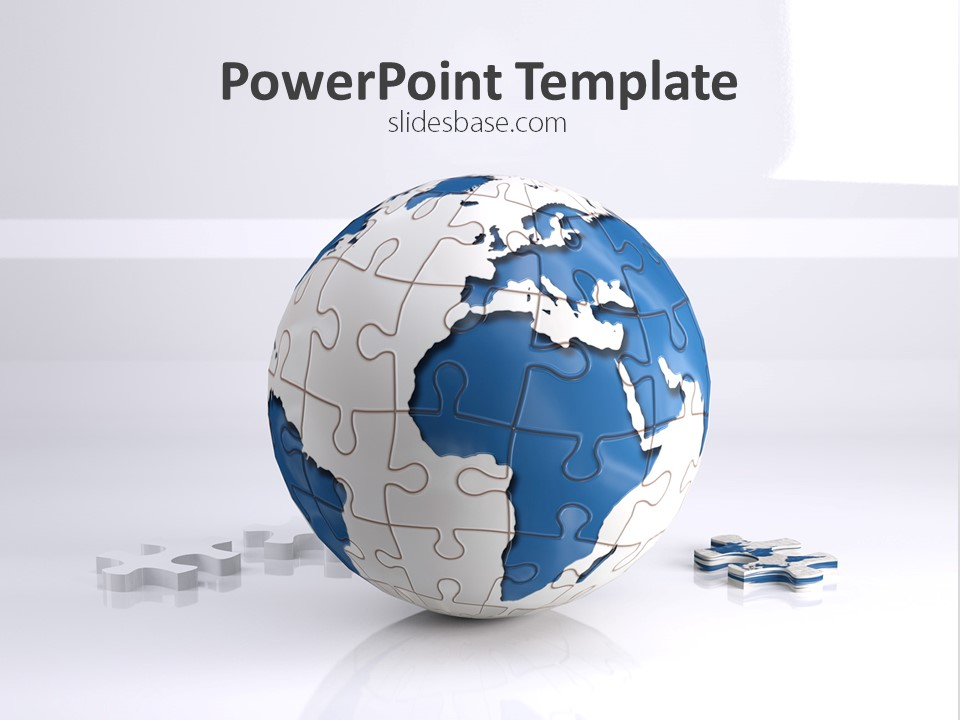 world puzzle powerpoint template | slidesbase, Modern powerpoint