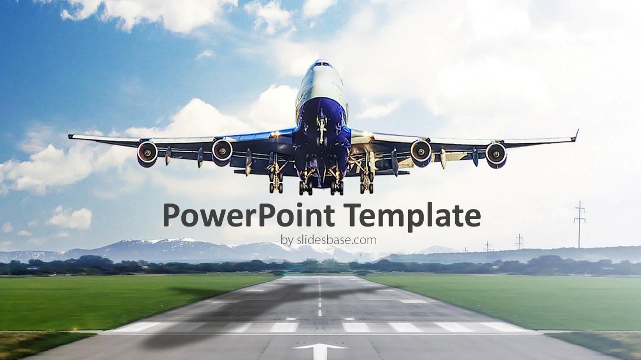 airplane takeoff powerpoint template slidesbase. Black Bedroom Furniture Sets. Home Design Ideas