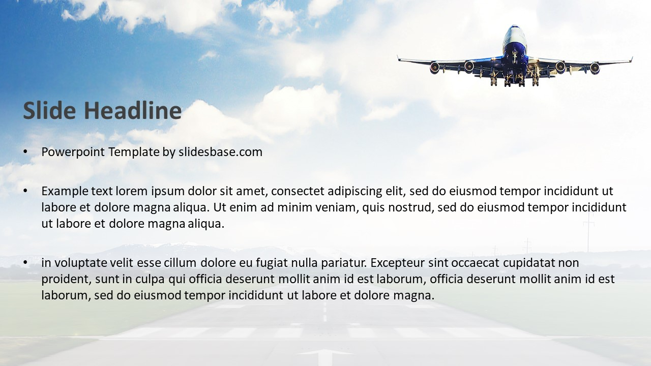 airplane takeoff powerpoint template slidesbase