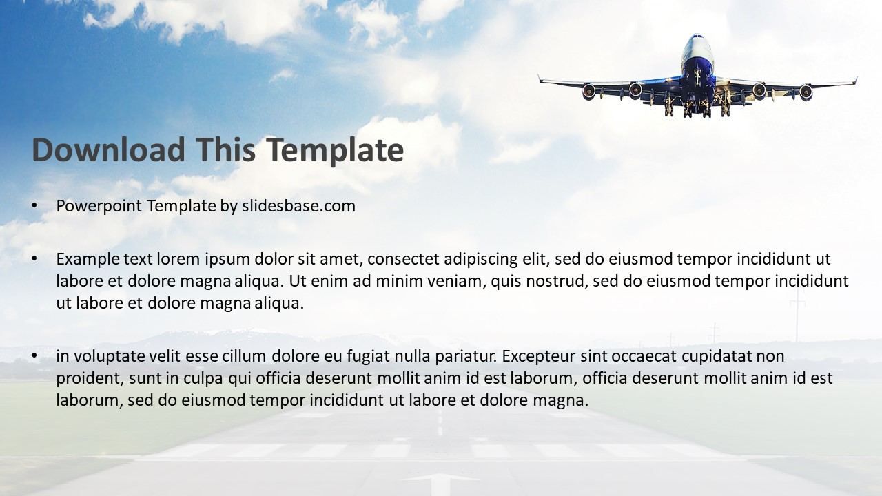 Airplane takeoff powerpoint template slidesbase airplane takeoff powerpoint template toneelgroepblik Choice Image