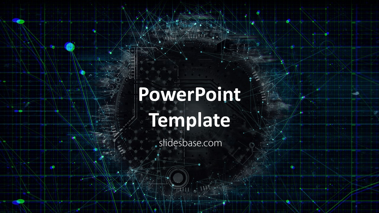 Technology network powerpoint template slidesbase technology network 3d circle it ai abstract business toneelgroepblik
