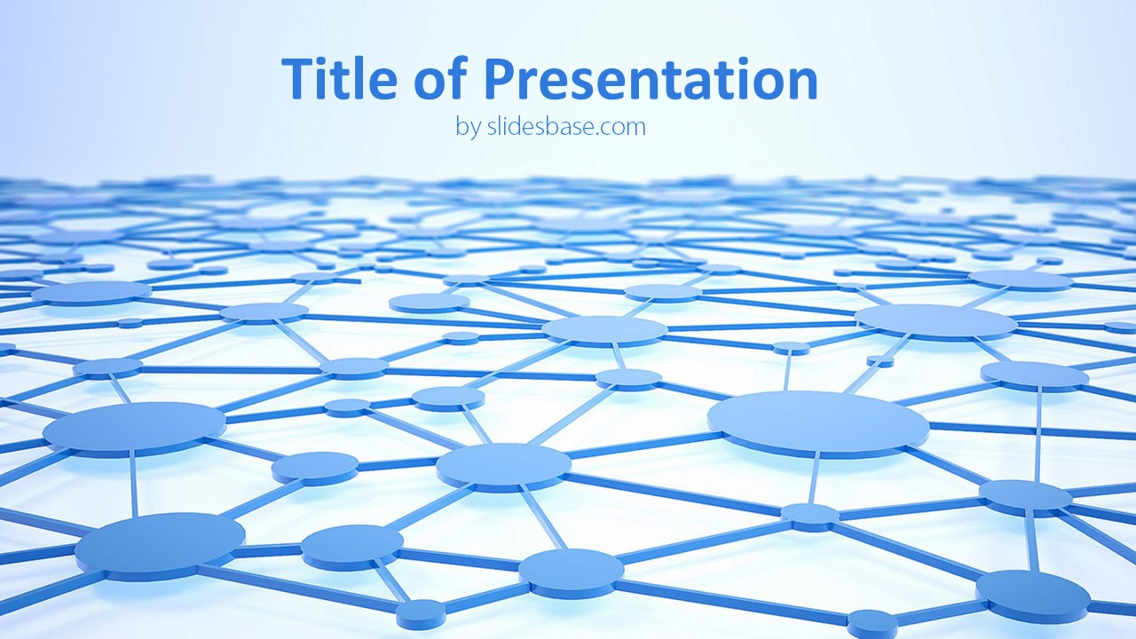blue blockchain network powerpoint template