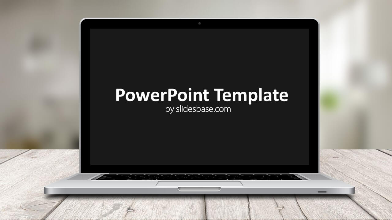 laptop screen powerpoint template slidesbase