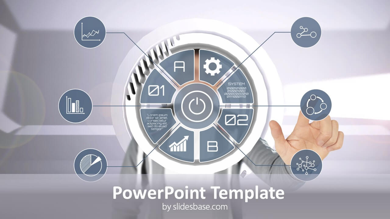 Businessman uses touch screen powerpoint template, backgrounds.